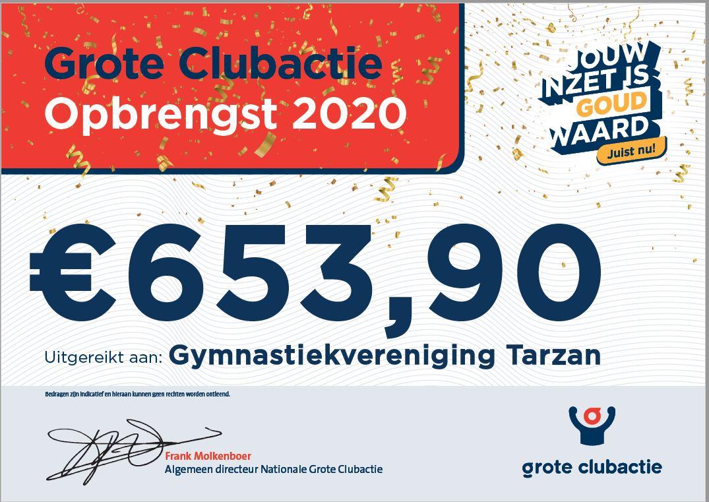 cheque groet clubaktie 2020